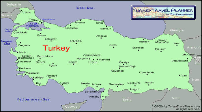 Map Of Turkey Where To Go