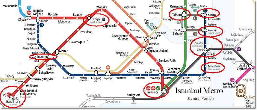 Istanbul Metro Map, central portion