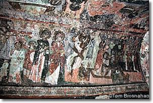 Medieval frescoes, cave church, Soğanlı, Cappadocia, Turkey