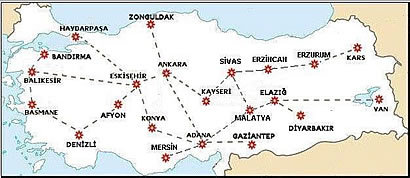 Turkish State Railways Route Map