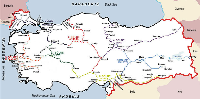 Turkish Railways Map